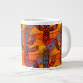 Orange Purple Southwestern Saguaro Cactus Mosaic Large Coffee Mug
