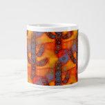 Orange Purple Southwestern Saguaro Cactus Mosaic 20 Oz Large Ceramic Coffee Mug