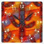 Orange Purple Southwestern Saguaro Cactus Mosaic Square Wall Clock