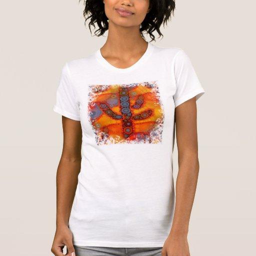 Orange Purple Southwestern Saguaro Cactus Mosaic T-shirts