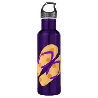 Orange Purple Summer Beach Theme Flip Flops Water Bottle