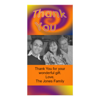 orange purple thank you card