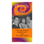 orange purple thank you photo card