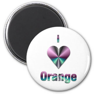 Orange -- Purple & Turquoise 2 Inch Round Magnet