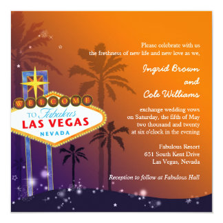 Orange + Purple Twilight Las Vegas Wedding Card