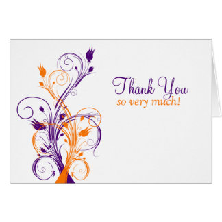 Orange Purple White Floral Thank You Card