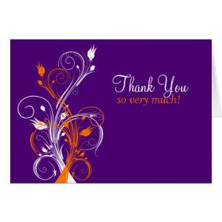 Orange Purple White Floral Thank You Card 2