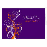 Orange Purple White Floral Thank You Card 2 Card
