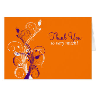 Orange Purple White Floral Thank You Card 3