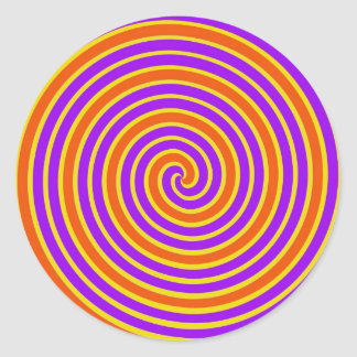 Orange Purple Yellow Dizzy Spiral Classic Round Sticker