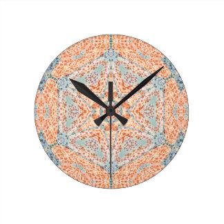 Orange Push-Up Hexagram  Wall Clock