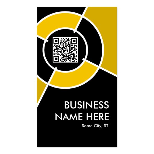 orange QR code and logo target Business Card Templates