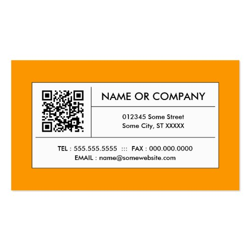 orange QR code Business Cards