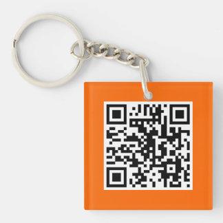 Orange QR CODE Custom Key Chain