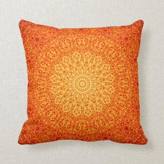 Orange quasicrystal mandala pillow