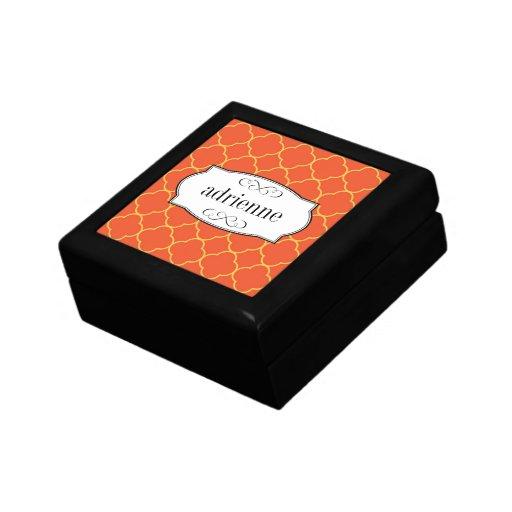 Orange quatrefoil clover leaf pattern personalized keepsake boxes
