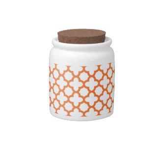 Orange Quatrefoil Pattern Candy Dish