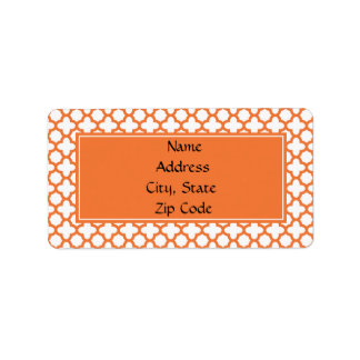 Orange Quatrefoil Pattern Label