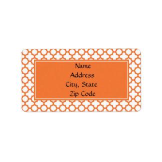 Orange Quatrefoil Pattern Address Label