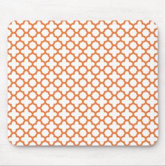Orange Quatrefoil Pattern Mouse Pad