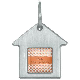 Orange Quatrefoil Pattern Pet ID Tag