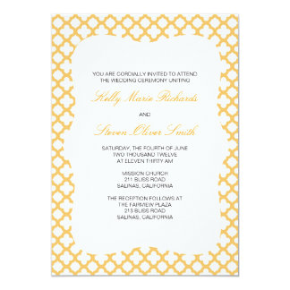 Orange Quatrefoil Pattern Wedding Invitation