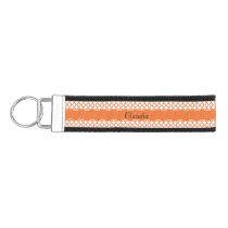 Orange Quatrefoil Pattern Wrist Keychain