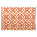 Orange Quatrefoil Trellis Pattern Cloth Placemat