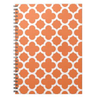 Orange Quatrefoil Trellis Pattern Notepad Spiral Notebook