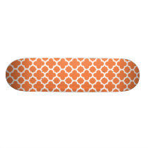 Orange Quatrefoil Trellis Pattern Skateboard Deck