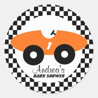 Orange Race Car Baby Shower Classic Round Sticker
