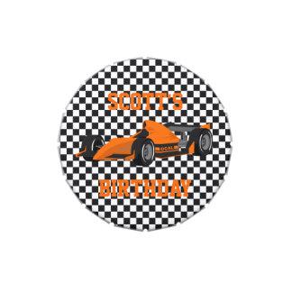 Orange Race Car Custom Birthday Party Favor Candy Tins