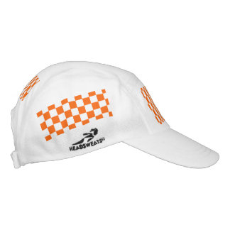 Orange Racing Checkered Flag Display Customizable Hat