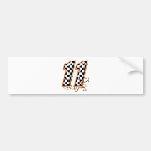 orange racing flag number 11 bumper stickers