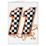 orange racing flag number 11 greeting card