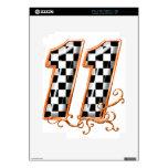 orange racing flag number 11 iPad 2 decals