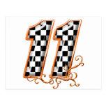 orange racing flag number 11 postcard