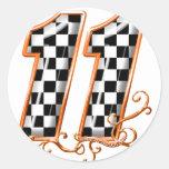orange racing flag number 11 round stickers