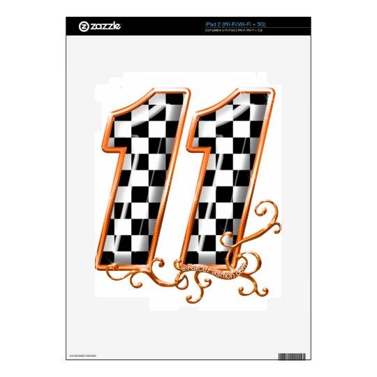 orange racing flag number 11 skins for the iPad 2