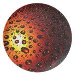 Orange Rain Drops Plate