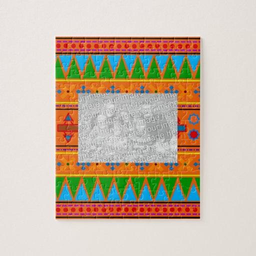 orange rainbow aztec tribal pattern puzzles