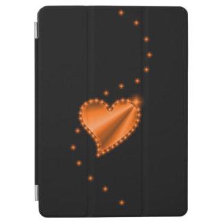 Orange Rainbow Heart with Stars on black iPad Air Cover