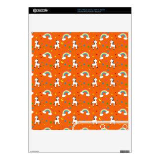 Orange rainbow unicorn hearts stars pattern PS3 slim decals