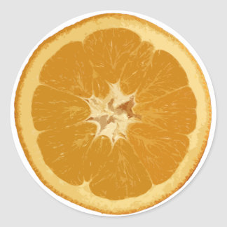 orange. realistic. classic round sticker