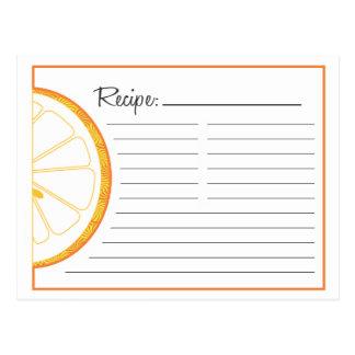 Orange Recipe Card Post Card