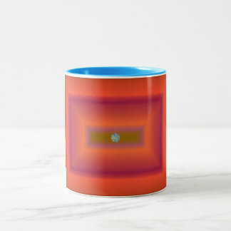 Orange Rectangles Abstract with Circle Two-Tone Coffee Mug