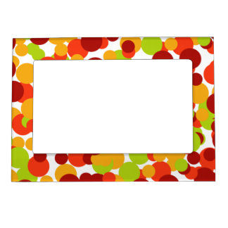 Orange, red and green confetti magnetic frame