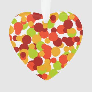 Orange, red and green confetti ornament