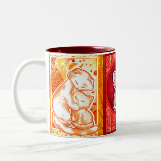 Orange Red and Purple Kittens Cup