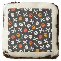 Orange Red and White Cartoon Skulls Chocolate Brownie